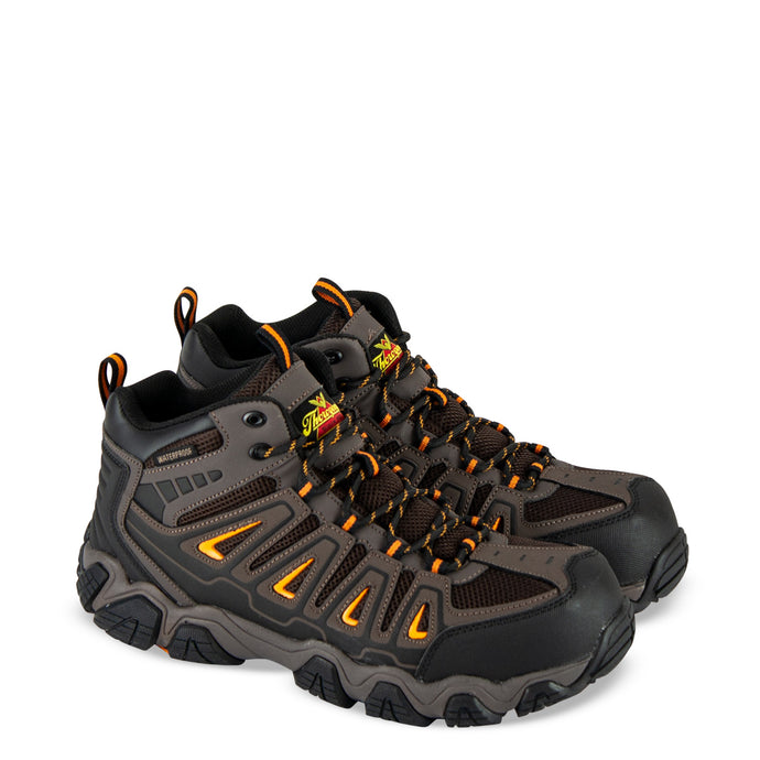 Thorogood Men's Crosstrex Series Mid Hiker Composite Safety Toe Work Boot in Brown/Orange from the side