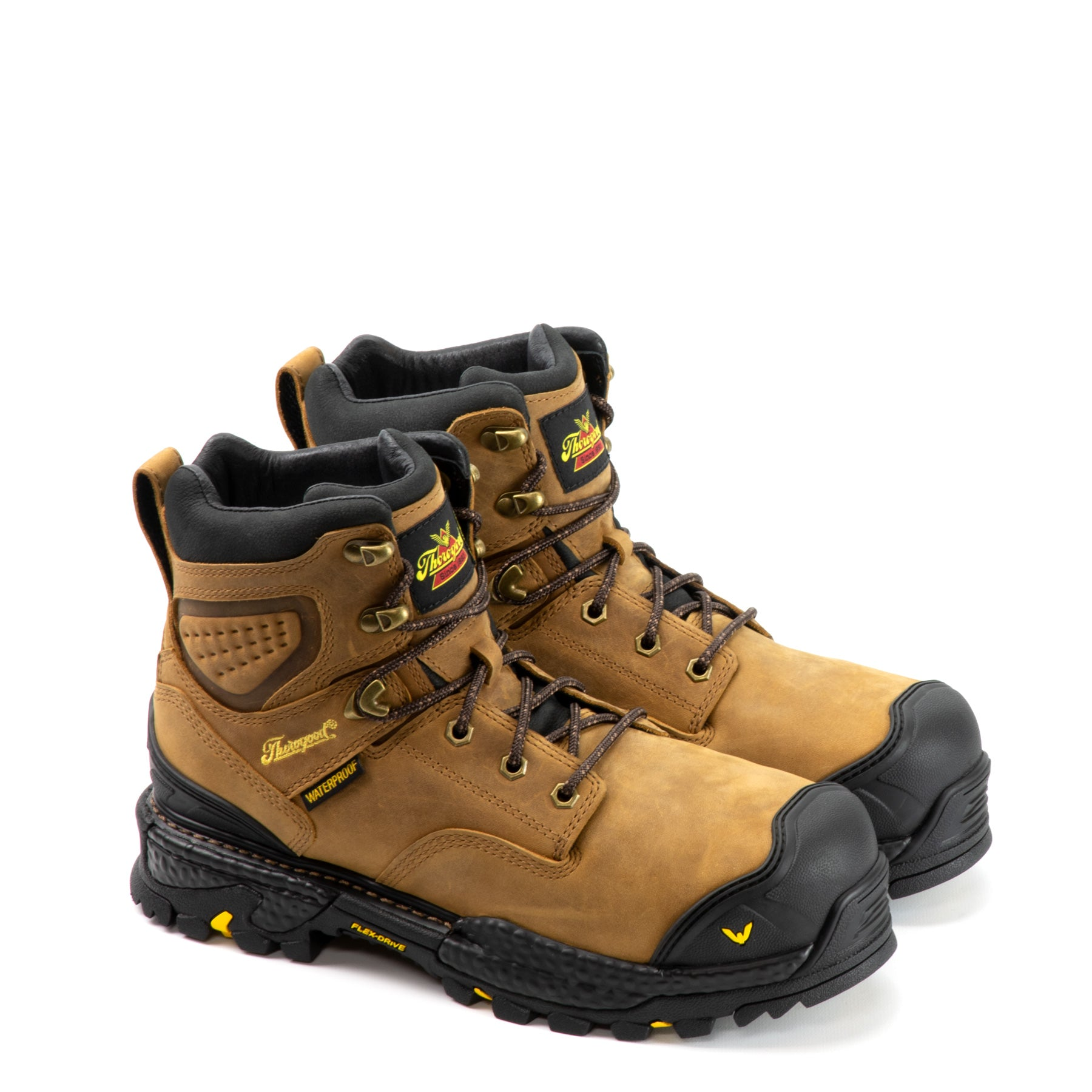 "Thorogood Men's Infinity FD Series 6"" Waterproof Composite Work Boot in Butterscotch from the side"