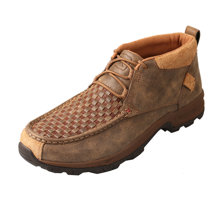 Men's Twisted X Chukka Hiker Boot in Woven Brown & Bomber from the side view