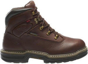 Men's Wolverine Buccaneer Waterproof 6 Work Boot in Dark Brown