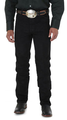 Men's Wrangler Cowboy Cut Silver Edition Slim Fit Jean in Black from the front