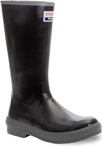 "Men's Xtratuf 15"" Legacy Fishing Boot in Black Leather from the side"