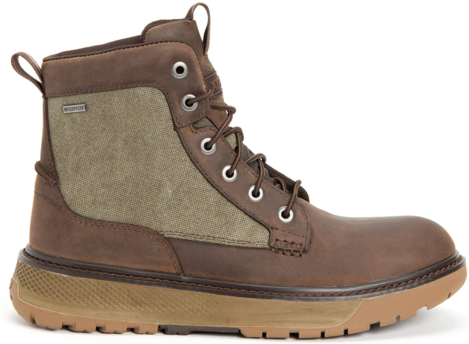 Men's Xtratuf Bristol Bay Work Boot in Brown/Green from the side