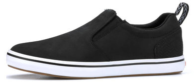 Men's Xtratuf Sharkbyte Leather Deck Shoe in Black from the side