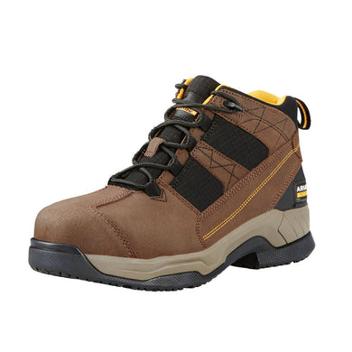 Mens Ariat Contender Steel Toe Work Boot in Brown from the front