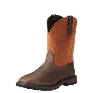 Mens Ariat Groundbreaker Wide Square Toe Steel Toe Work Boot in Brown Ember from the front