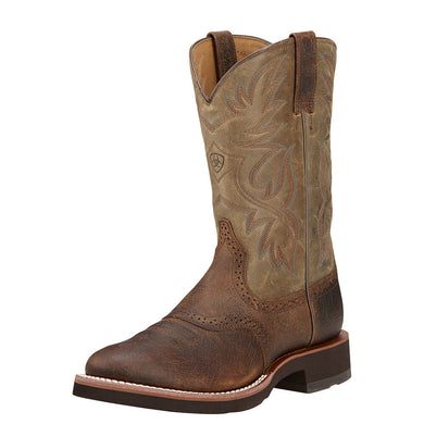 Mens Ariat Heritage Crepe Western Boot in Earth from the front