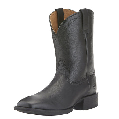 Mens Ariat Heritage Roper Wide Square Toe Western Boot in Black Deertan from the front