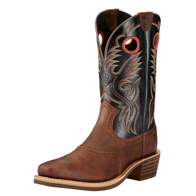 Mens Ariat Heritage Roughstock Western Boot in Bar Top Brown from the front