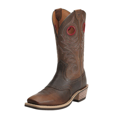 Mens Ariat Heritage Roughstock Wide Square Toe Western Boot in Brown Oiled Rowdy from the front