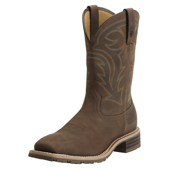 Mens Ariat Hybrid Rancher Waterproof Western Boot in Oily Distressed Brown from the front