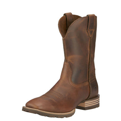Mens Ariat Hybrid Street Side Western Boot in Powder Brown from the front