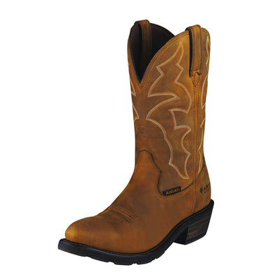 Mens Ariat Ironside Waterproof Work Boot in Dusted Brown from the front