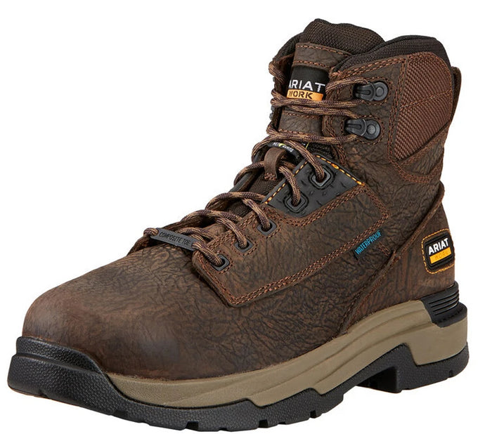 Mens Ariat MasterGrip 6 MetGuard Waterproof Composite Toe Work Boot in Bruin Brown from the front