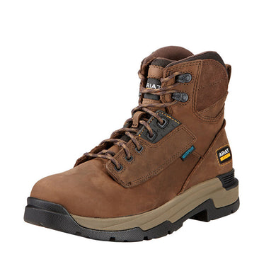 Mens Ariat MasterGrip 6 Waterproof Work Boot in Oily Distressed Brown from the front