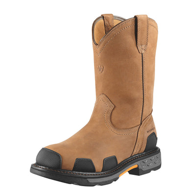 Mens Ariat OverDrive Pull-On Waterproof Composite Toe Work Boot in Dusted Brown from the front