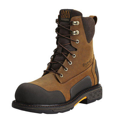 Mens Ariat OverDrive XTR 8 Side Zip Steel Toe Work Boot in Aged Bark from the front