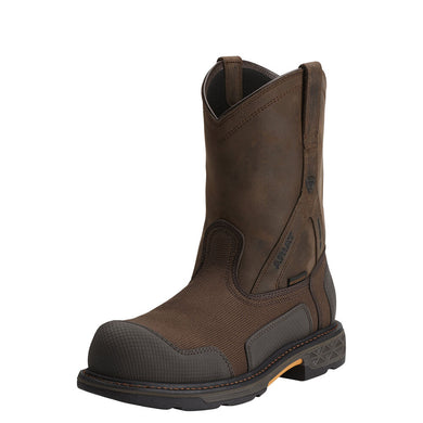 Mens Ariat OverDrive XTR Waterproof Composite Toe Work Boot in Brown Woven from the front