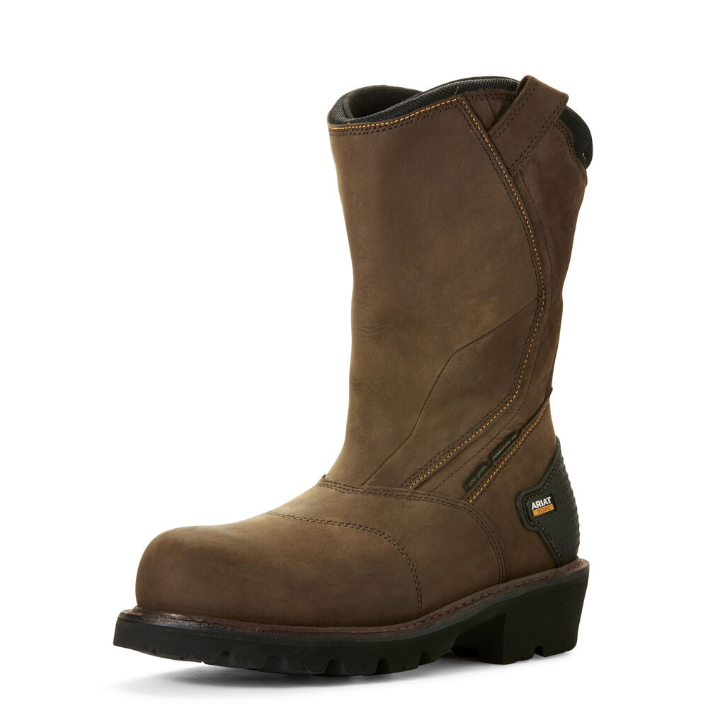 Mens Ariat Powerline 400G Waterproof Composite Toe Work Boot in Oily Distressed Brown from the front