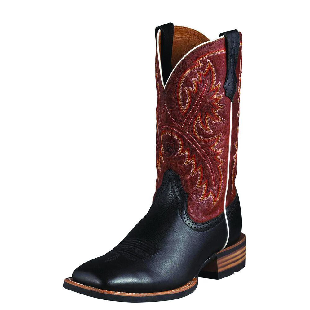 Mens Ariat Quickdraw Western Boot in Black Deertan from the front