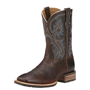 Mens Ariat Quickdraw Western Boot in Brown Oiled Rowdy from the front