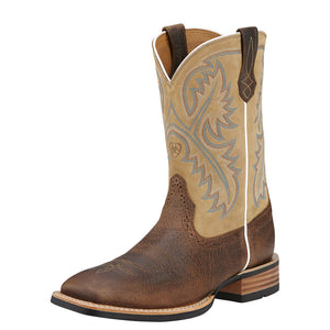 Mens Ariat Quickdraw Western Boot in Tumbled Bark from the front
