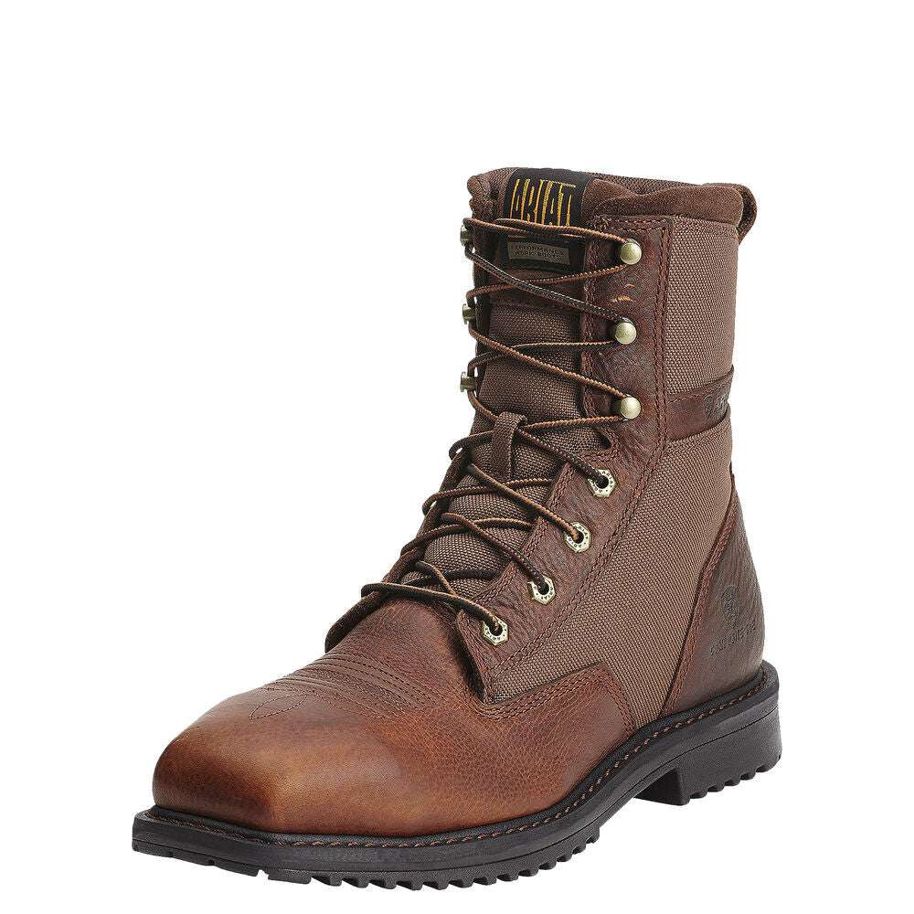 Mens Ariat RigTek 8 Wide Square Toe Composite Toe Work Boot in Oiled Brown from the front