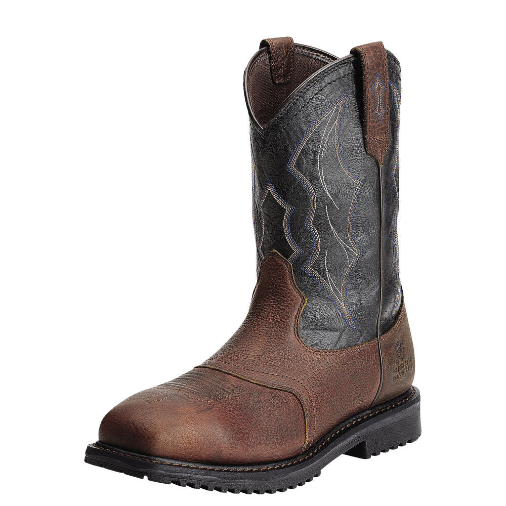 Mens Ariat RigTek Wide Square Toe Waterproof Composite Toe Work Boot in Oiled Brown from the front