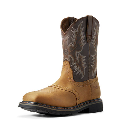 Mens Ariat Sierra Wide Square Toe Steel Toe Work Boot in Aged Bark from the front