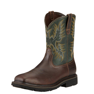 Mens Ariat Sierra Wide Square Toe Steel Toe Work Boot in Dark Brown from the front