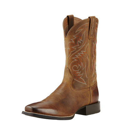 Mens Ariat Sport Herdsman Western Boot in Powder Brown from the front