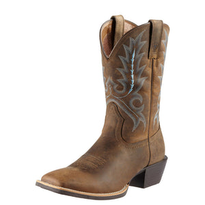 Mens Ariat Sport Outfitter Western Boot in Distressed Brown from the front