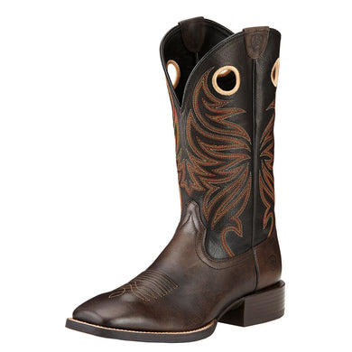 Mens Ariat Sport Rider Wide Square Toe Western Boot in Chocolate from the front