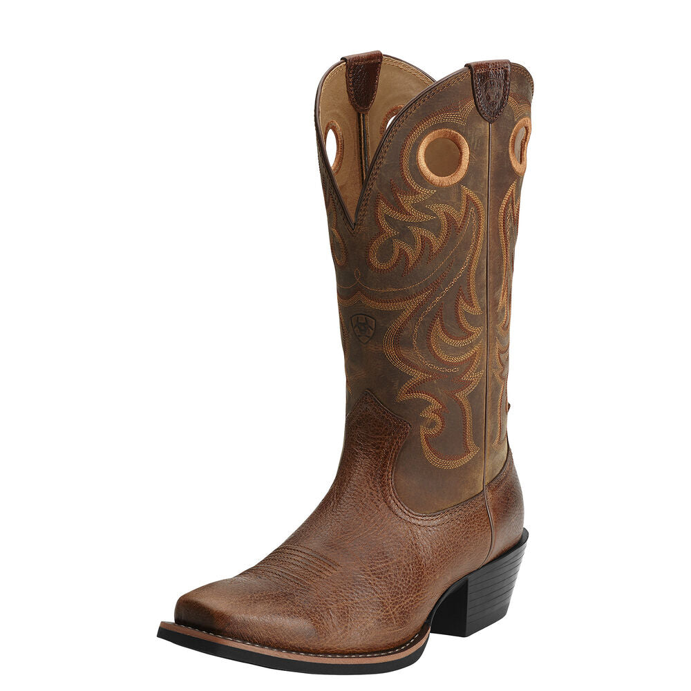 Mens Ariat Sport Square Toe Western Boot in Powder Brown from the front