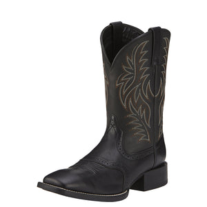 Mens Ariat Sport Wide Square Toe Western Boot in Black Deertan from the front