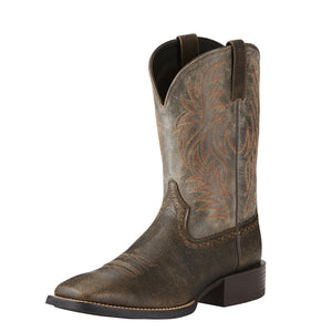 Mens Ariat Sport Wide Square Toe Western Boot in Brooklyn Brown from the front