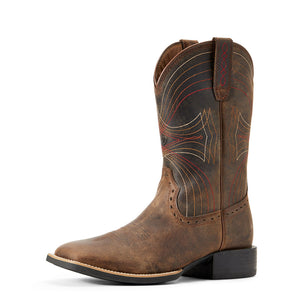 Mens Ariat Sport Wide Square Toe Western Boot in Distressed Brown from the front