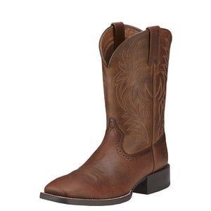 Mens Ariat Sport Wide Square Toe Western Boot in Fiddle Brown from the front