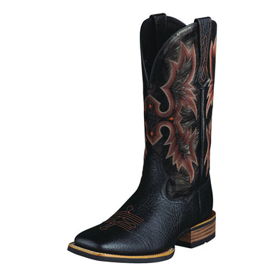 Mens Ariat Tombstone Western Boot in Black from the front