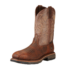 Load image into Gallery viewer, Men's Ariat WorkHog Composite Toe Work Boot in Brown Croco Print