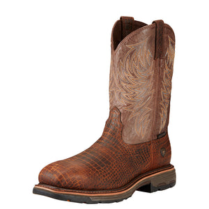 Men's Ariat WorkHog Composite Toe Work Boot in Brown Croco Print