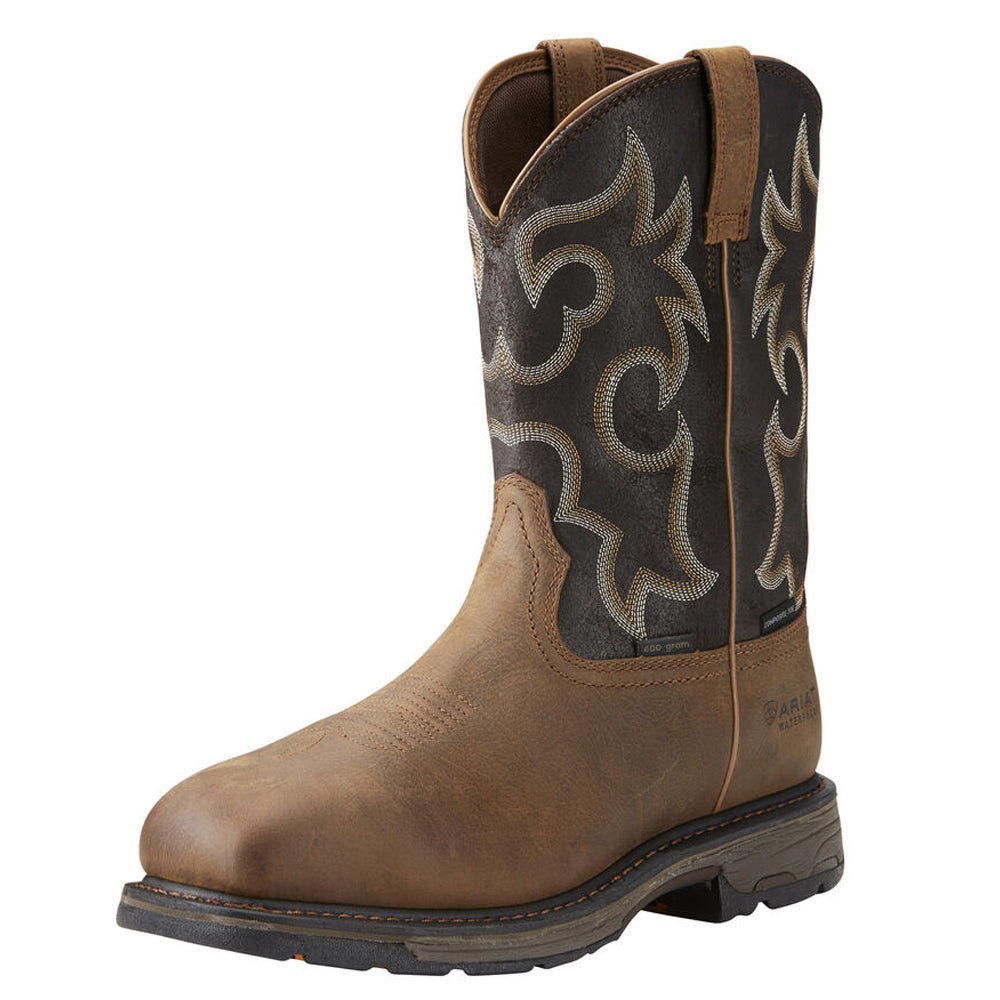 Mens Ariat WorkHog Wide Square Toe 400g Waterproof Composite Toe Work Boot in Rye Brown from the front