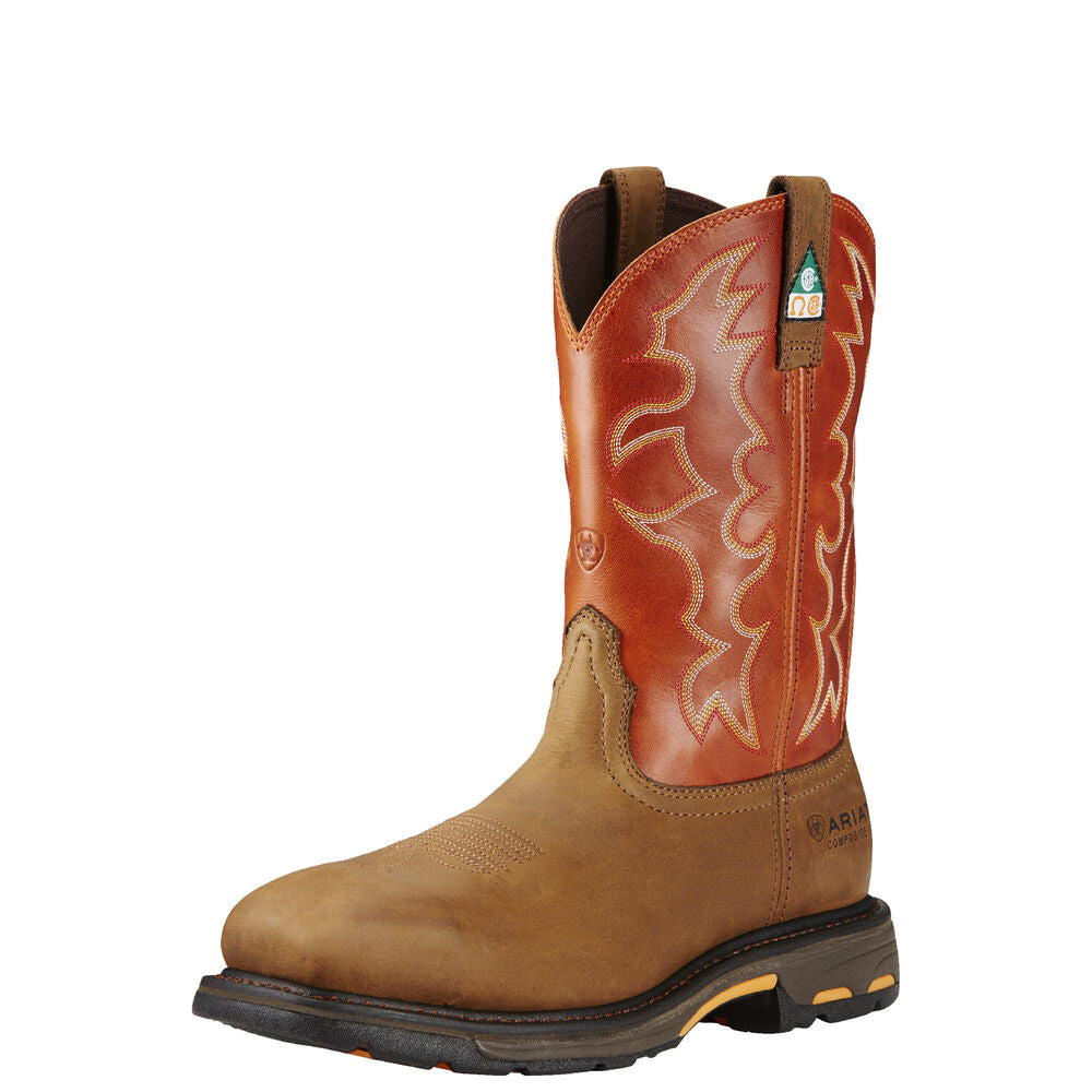 Mens Ariat WorkHog Wide Square Toe CSA Composite Toe Work Boot in Dark Earth from the front