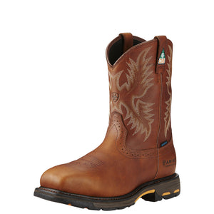 Mens Ariat WorkHog Wide Square Toe CSA Waterproof Composite Toe Work Boot in Dark Copper from the front