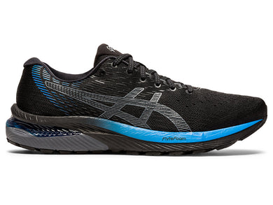 Men's Asics GEL-Cumulus 22 Running Shoe in Black/Directoire Blue from the side
