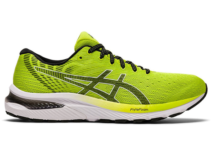 Men's Asics GEL-Cumulus 22 Running Shoe in Lime Zest/Black from the side