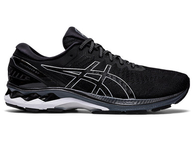 Men's Asics GEL-Kayano 27 Running Shoe in Black/Pure Silver from the side
