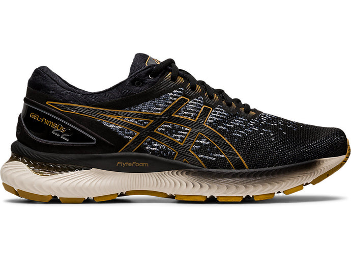 Men's Asics GEL-Nimbus 22 Knit Running Shoe in Black/Black from the side