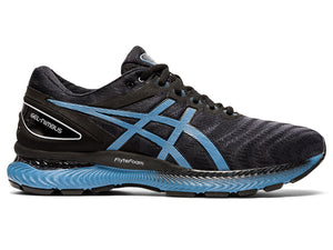 Men's Asics GEL-Nimbus 22 Running Shoe in Black/Grey Floss from the side