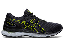 Load image into Gallery viewer, Men's Asics GEL-Nimbus 22 Running Shoe in Carrier Grey/Lime Zest from the side